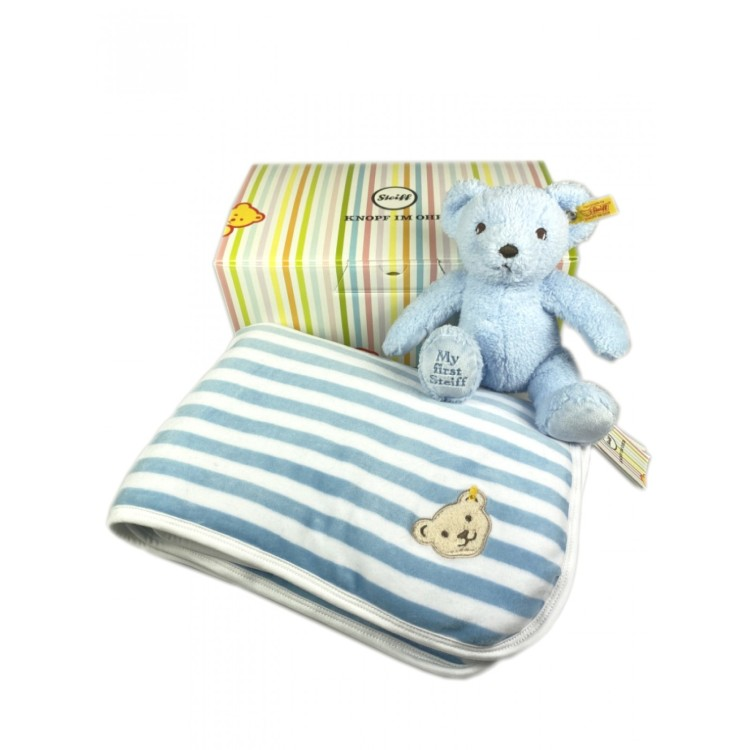 Baby Gift Set (Blanket & My First Bear) Blue