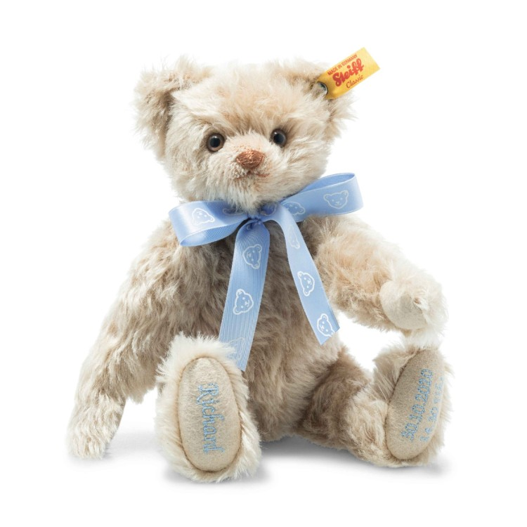 Personalised Teddy Birth Bear Blue (001680) 27cm